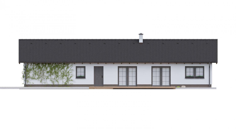 Pohľad 1. - Dom vhodný na úzky pozemok vo vidieckom štýle.
