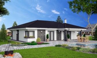 Dom na široký pozemok s dvojgarážou.