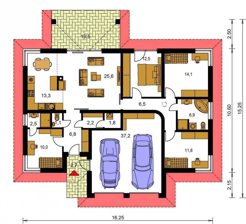 Pôdorys Prízemia - Dom na široký pozemok s terasou