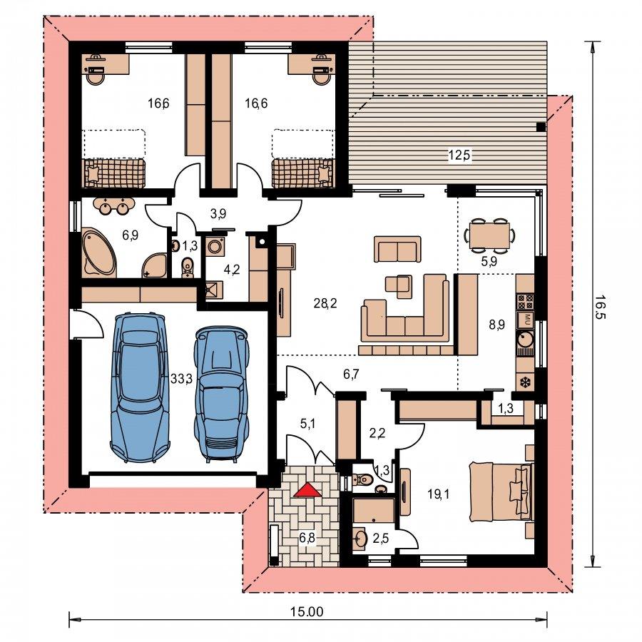 Pôdorys Prízemia - Projekt v Tvare L s dvomi garážami