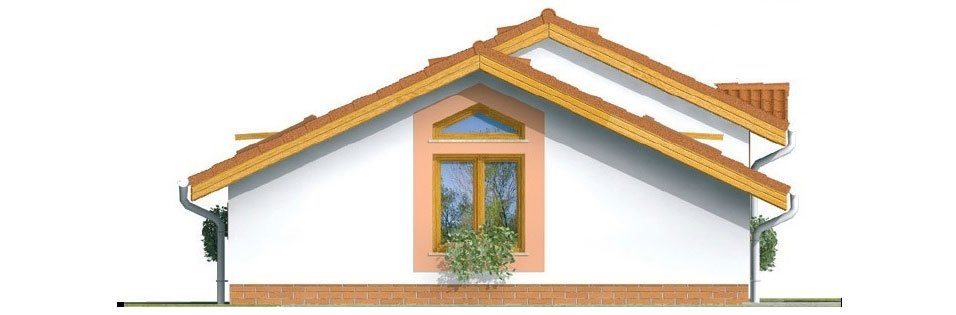 Pohľad 4. - Lacný prízemný rodinný dom na úzky pozemok, patrí medzi top 10 projektov