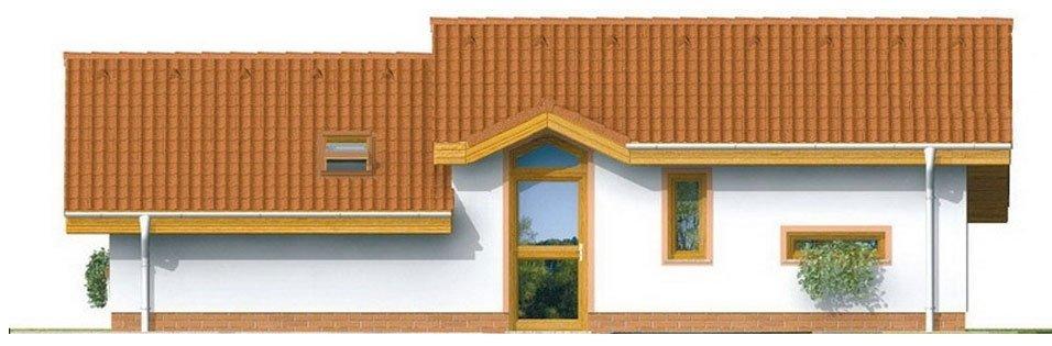 Pohľad 1. - Lacný projekt rodinného domu na úzky pozemok. Patrí medzi top 10 projektov.