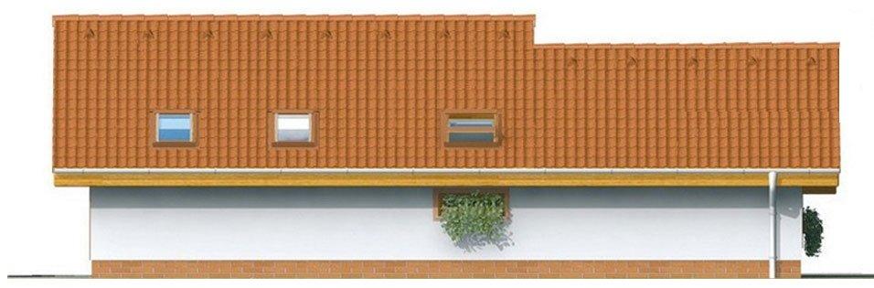 Pohľad 3. - Lacný projekt rodinného domu na úzky pozemok. Patrí medzi top 10 projektov.