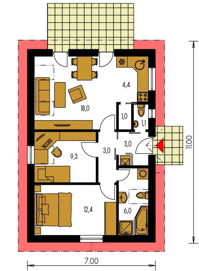 Pôdorys Prízemia - Lacný prízemný rodinný dom na úzky pozemok, patrí medzi top 10 projektov