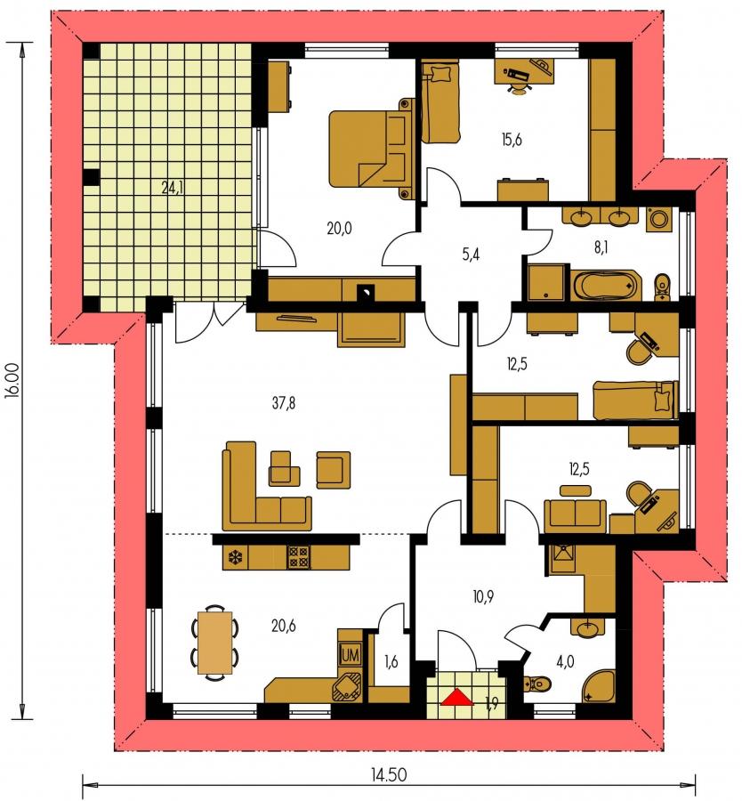 Pôdorys Prízemia - Projekt rodinného domu pre 5-6 člennú rodinu.