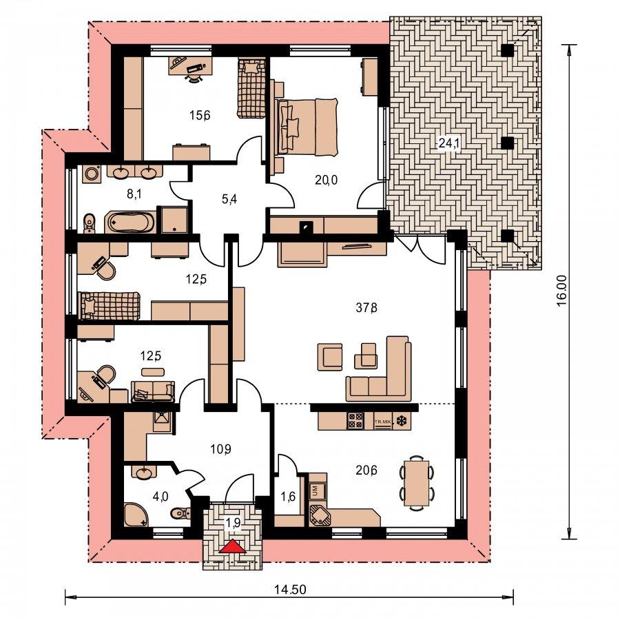 Pôdorys Prízemia - Veľký rodinný dom-projekt