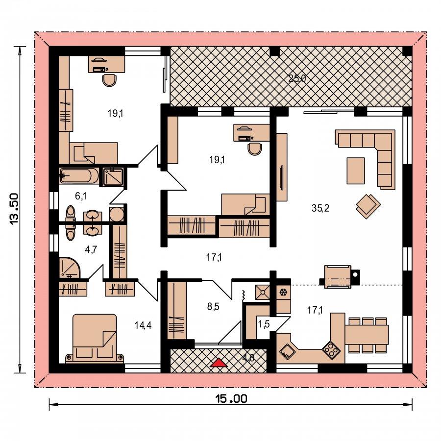 Pôdorys Prízemia - Krásny dom s veľkou terasou