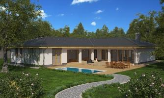 Krásny rodinný dom do tvaru L s dvojgarážou.