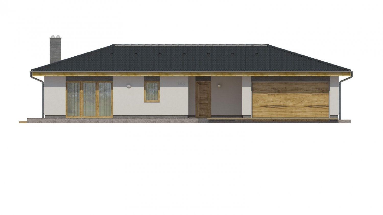 Pohľad 1. - Krásny rodinný dom do tvaru L s dvojgarážou.