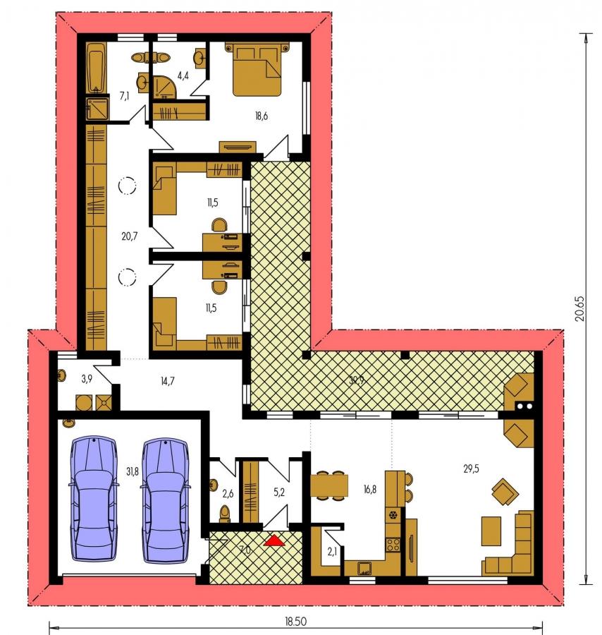 Pôdorys Prízemia - Krásny rodinný dom do tvaru L s dvojgarážou.
