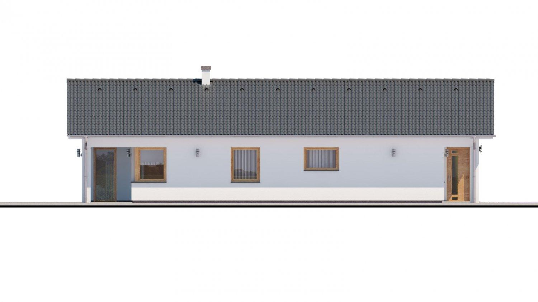 Pohľad 4. - Moderný dom s dvoma garážami.