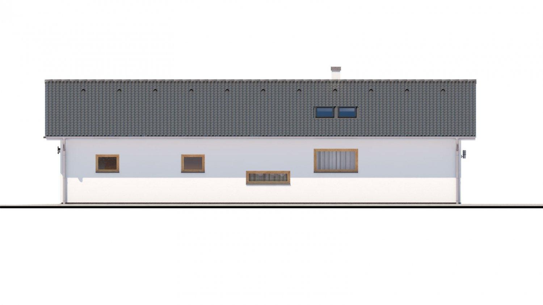 Pohľad 2. - Moderný dom s dvoma garážami.