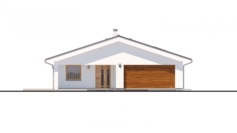 Pohľad 1. - Moderný dom s dvoma garážami.