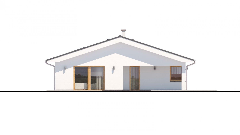 Pohľad 3. - Moderný dom s dvoma garážami.