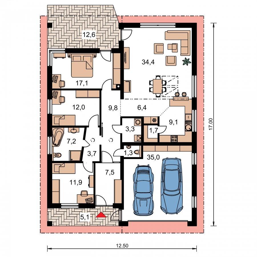 Pôdorys Prízemia - Moderný dom s dvomi garážami