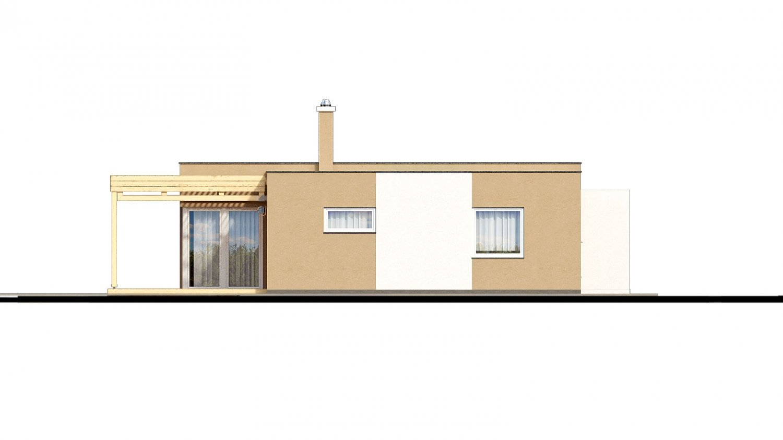 Pohľad 4. - Dom do L s plochou strechou