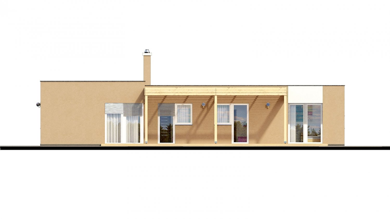Pohľad 3. - Dom do L s plochou strechou