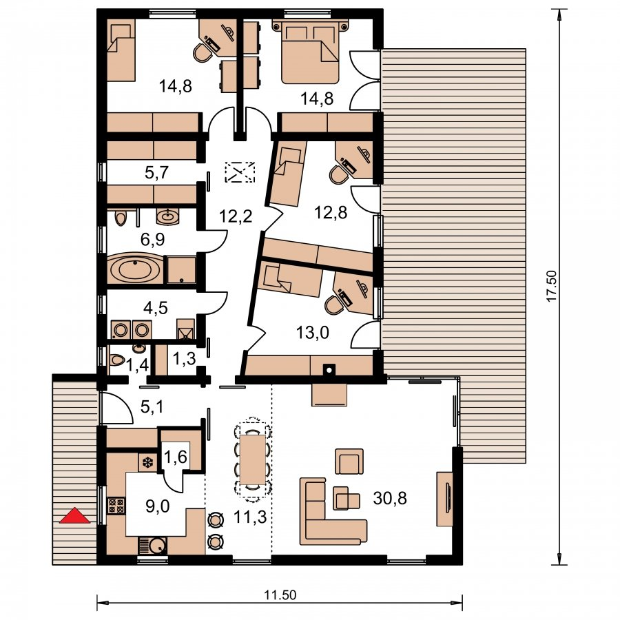 Pôdorys Prízemia - Dom do L s plochou strechou