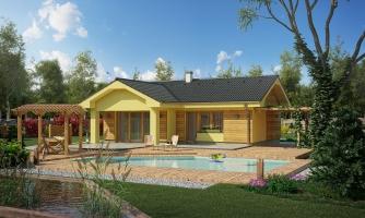 Malý dom s terasou. Môže byť realizovaný ako dvojdom s projektom v zrkadlovom obraze.