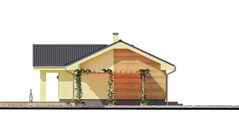 Pohľad 4. - Malý dom s terasou. Môže byť realizovaný ako dvojdom s projektom v zrkadlovom obraze.