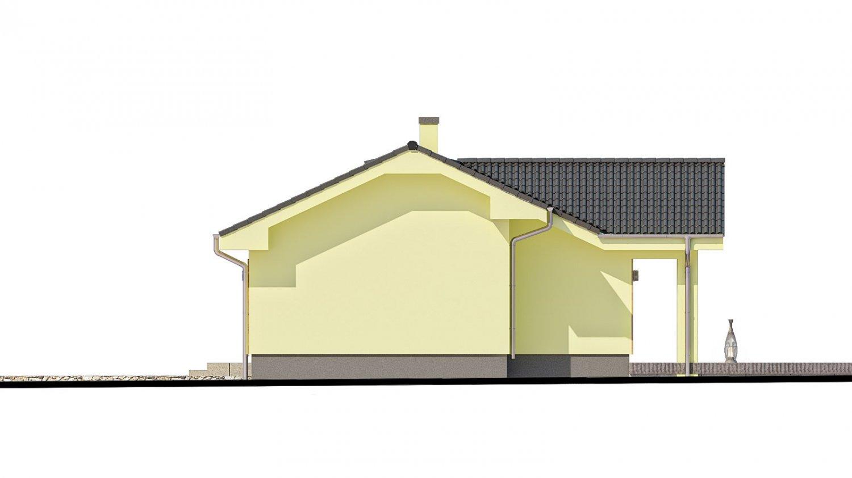 Pohľad 2. - Malý dom s terasou. Môže byť realizovaný ako dvojdom s projektom v zrkadlovom obraze.