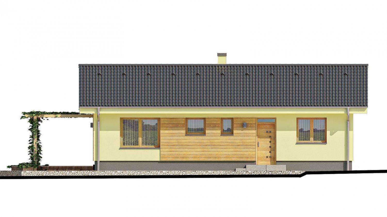 Pohľad 1. - Malý dom s terasou. Môže byť realizovaný ako dvojdom s projektom v zrkadlovom obraze.
