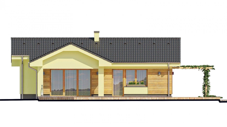 Pohľad 3. - Malý dom s terasou. Môže byť realizovaný ako dvojdom s projektom v zrkadlovom obraze.