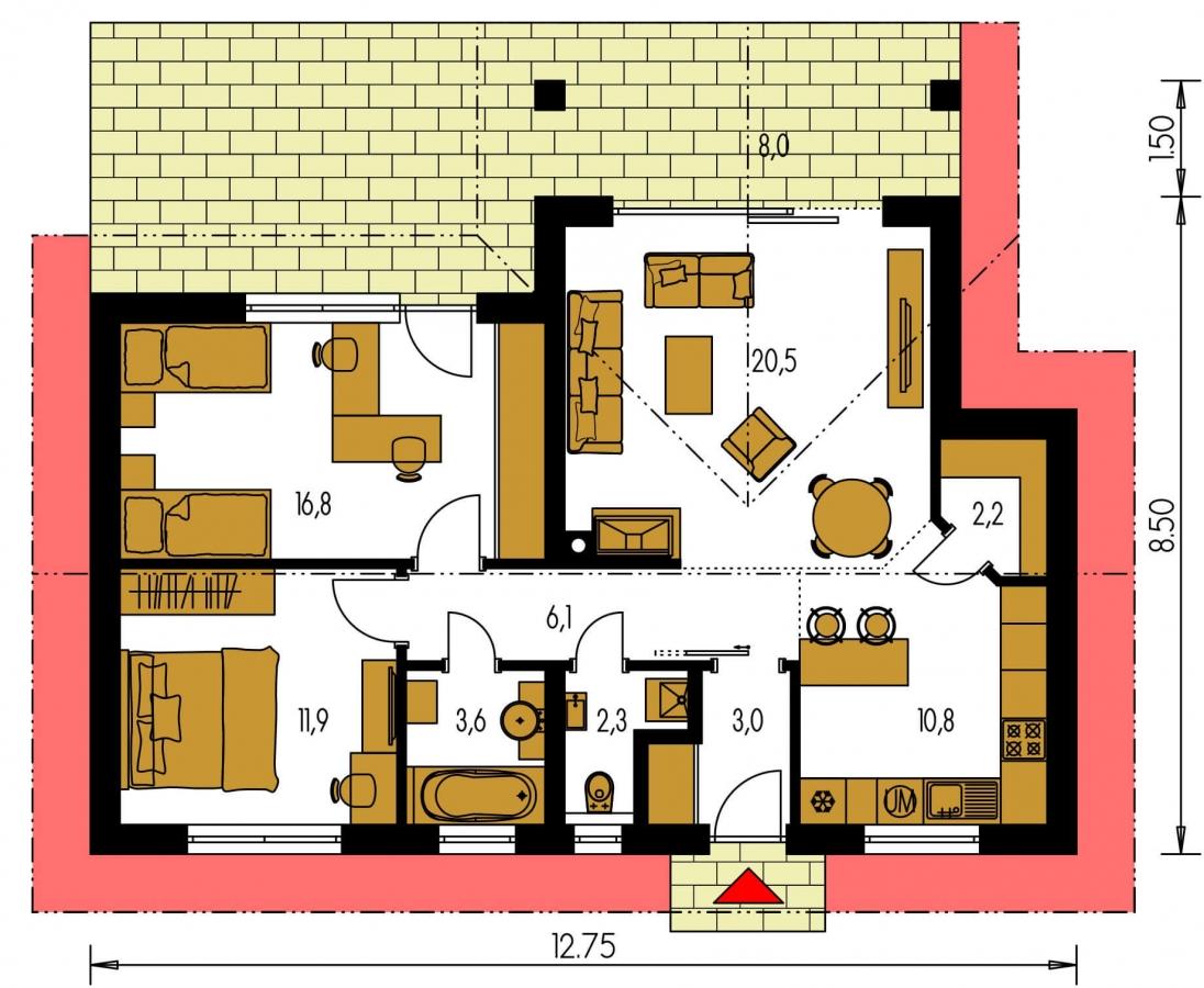 Pôdorys Prízemia - Malý dom s terasou. Môže byť realizovaný ako dvojdom s projektom v zrkadlovom obraze.