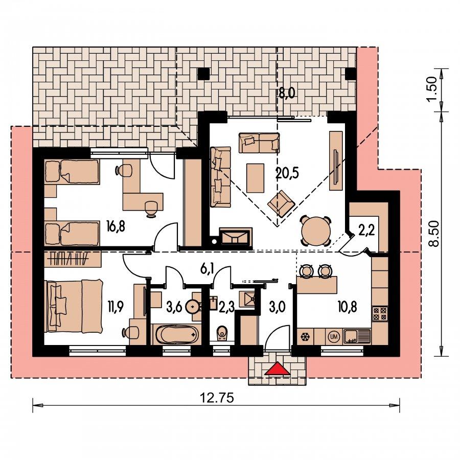 Pôdorys Prízemia - Malý domček s terasou