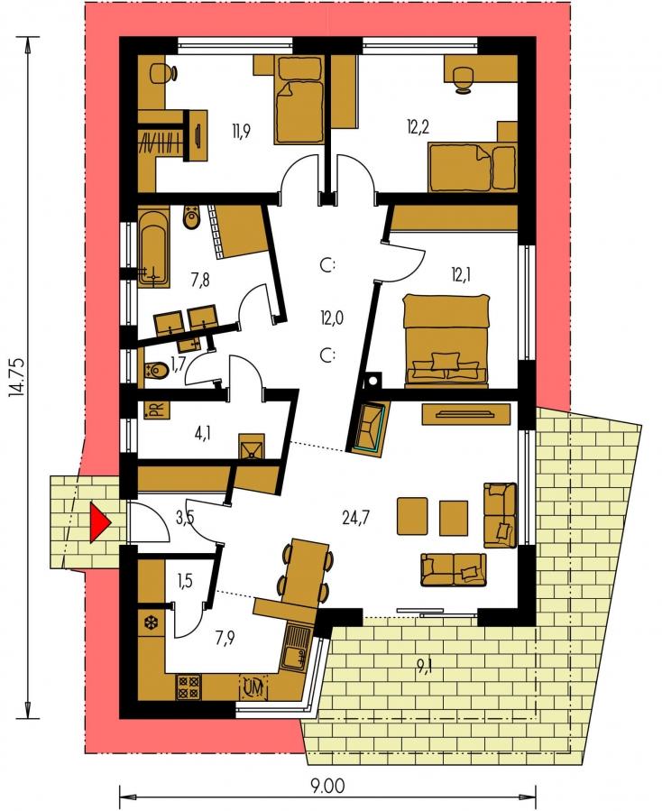 Pôdorys Prízemia - Projekt domu s atypickým členením interiéru.