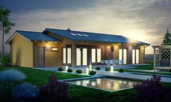 Projekt rodinného domu s presvetlenou obývacou izbou strešnými oknami a garážou.