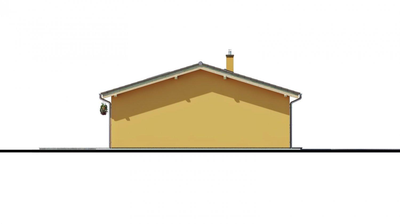 Pohľad 4. - Projekt rodinného domu s presvetlenou obývacou izbou strešnými oknami a garážou.