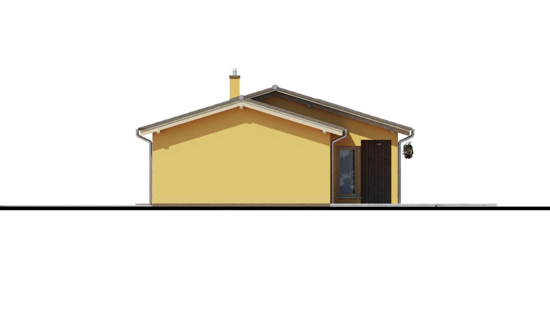 Pohľad 2. - Projekt rodinného domu s presvetlenou obývacou izbou strešnými oknami a garážou.