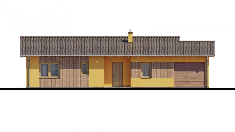 Pohľad 1. - Projekt rodinného domu s presvetlenou obývacou izbou strešnými oknami a garážou.