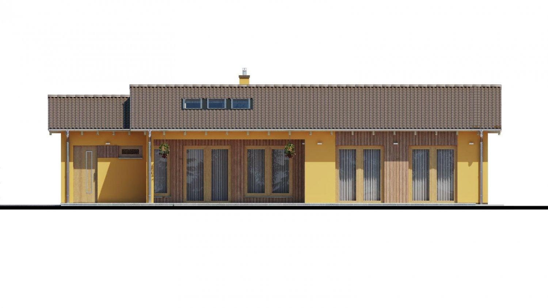 Pohľad 3. - Projekt rodinného domu s presvetlenou obývacou izbou strešnými oknami a garážou.