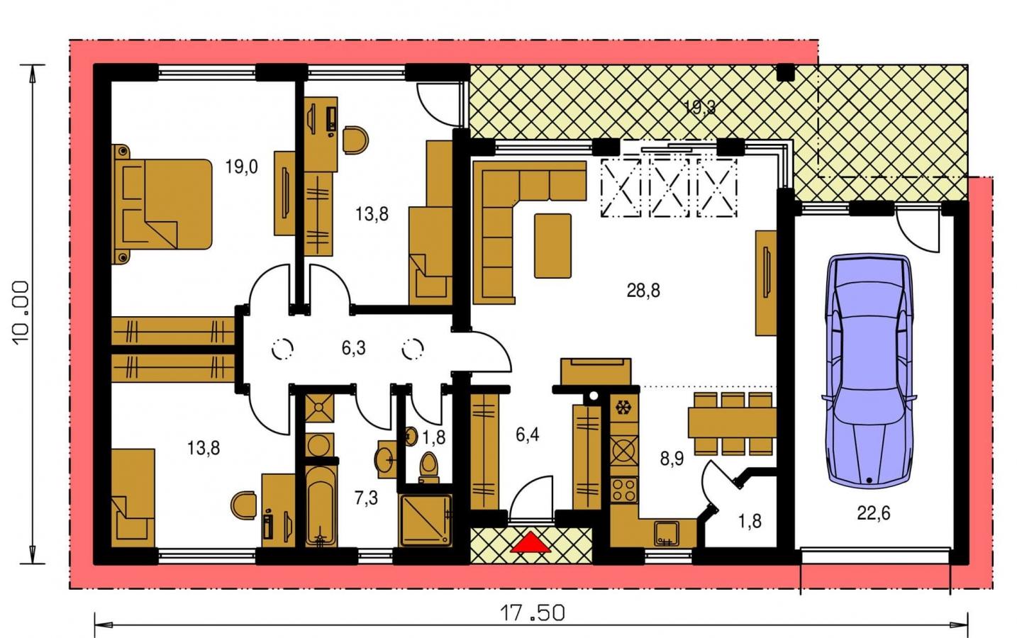 Pôdorys Prízemia - Projekt rodinného domu s presvetlenou obývacou izbou strešnými oknami a garážou.