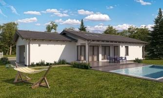 Projekt domu bungalov s dvojgarážou a s presvetlenou obývacou izbou strešnými oknami.