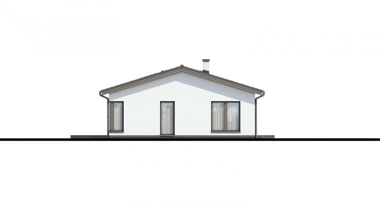 Pohľad 4. - Projekt domu bungalov s dvojgarážou a s presvetlenou obývacou izbou strešnými oknami.