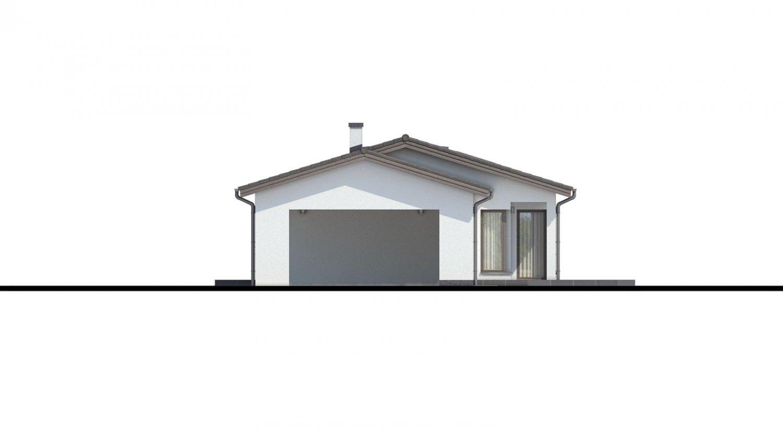 Pohľad 2. - Projekt domu bungalov s dvojgarážou a s presvetlenou obývacou izbou strešnými oknami.