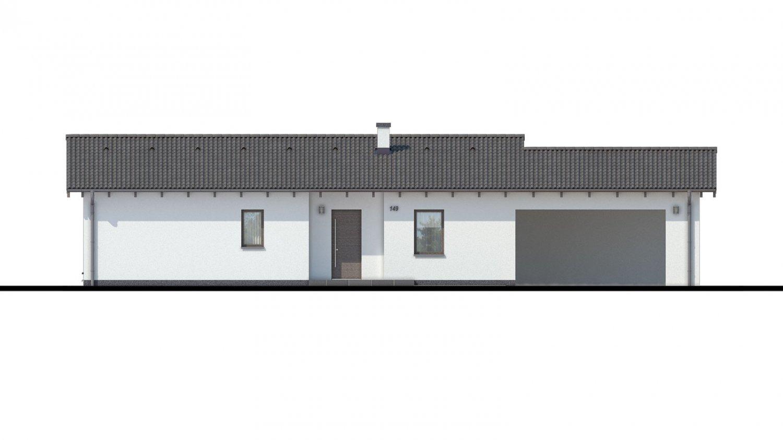 Pohľad 1. - Projekt domu bungalov s dvojgarážou a s presvetlenou obývacou izbou strešnými oknami.