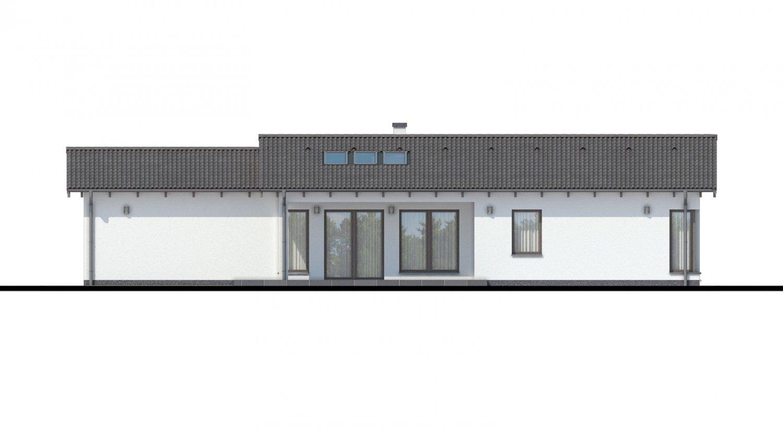 Pohľad 3. - Projekt domu bungalov s dvojgarážou a s presvetlenou obývacou izbou strešnými oknami.