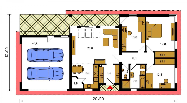 Pôdorys Prízemia - Projekt domu bungalov s dvojgarážou a s presvetlenou obývacou izbou strešnými oknami.