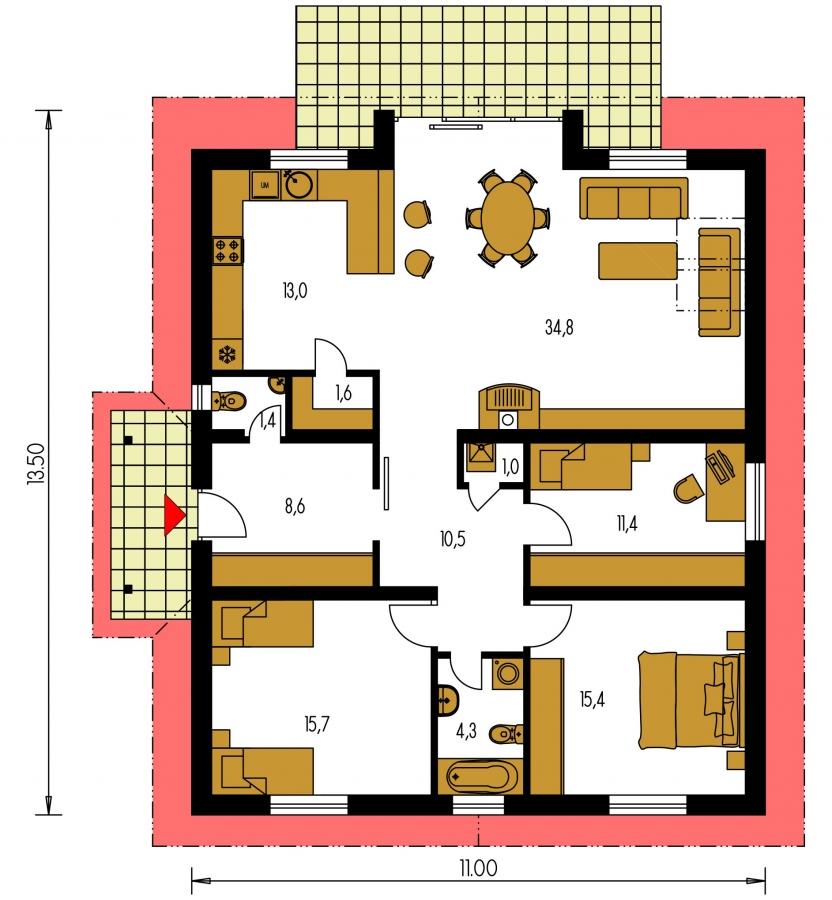 Pôdorys Prízemia - Zaujímavý prízemný rodinný dom s veľkopriestorovou obývacou časťou.