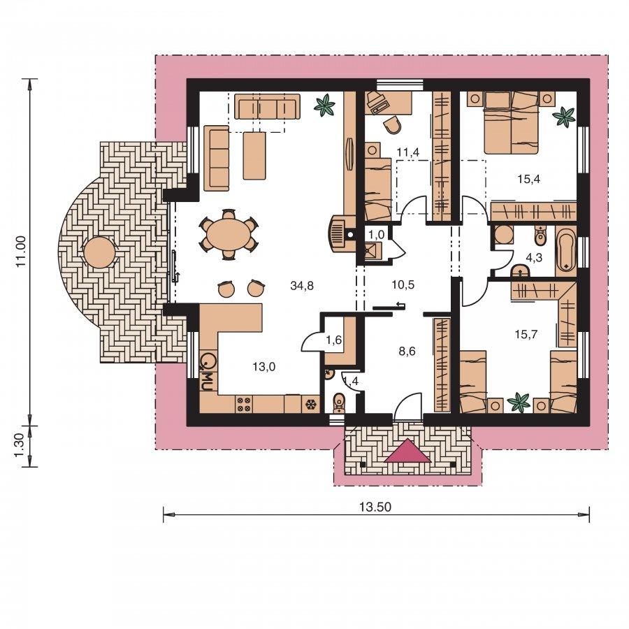 Pôdorys Prízemia - Zaujímavý prízemný rodinný dom