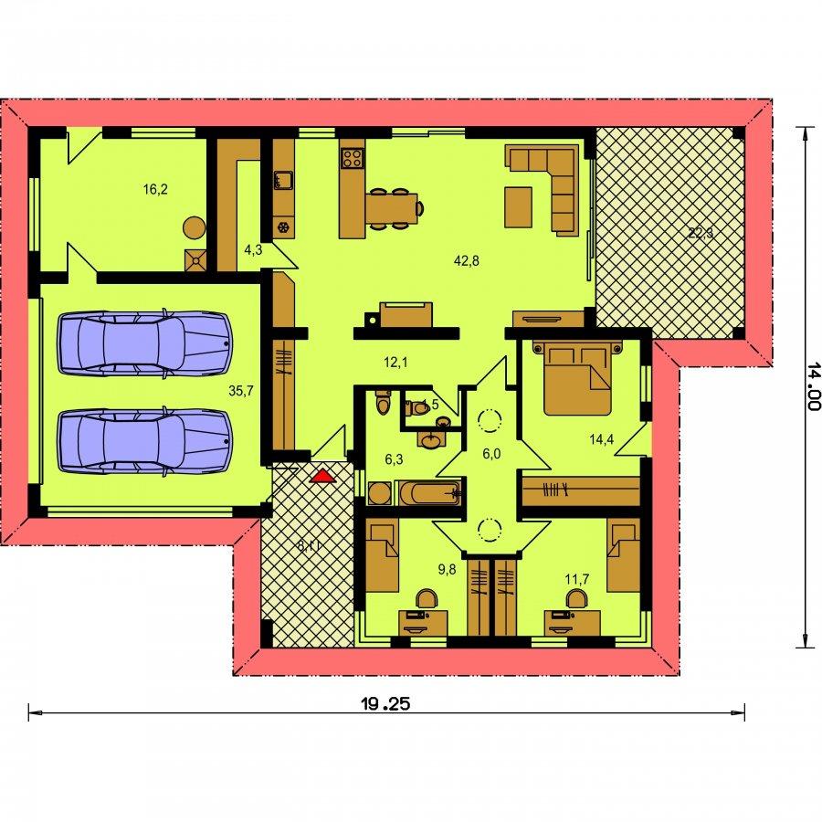 Pôdorys Prízemia - Bungalov s dvojgarážou tvaru L
