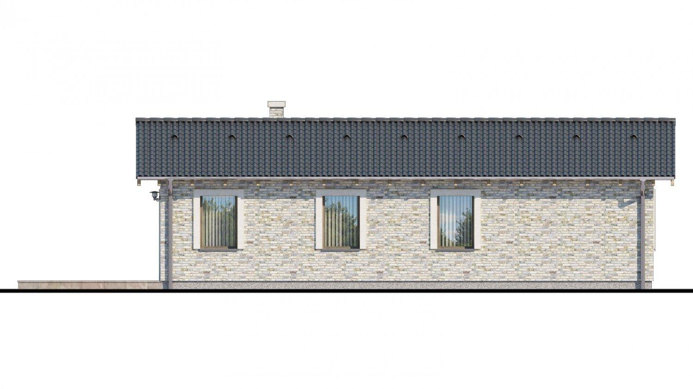 Pohľad 3. - Projekt rodinného domu na úzky pozemok.