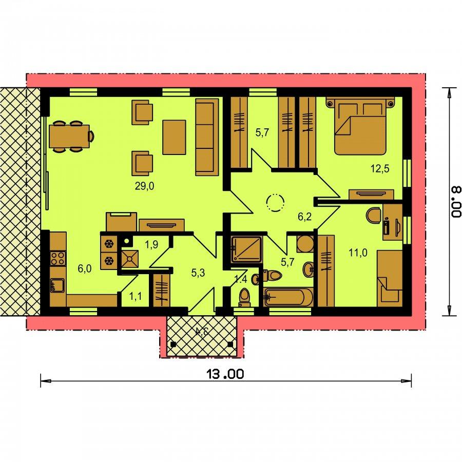 Pôdorys Prízemia - Projekt rodinného domu na úzky pozemok