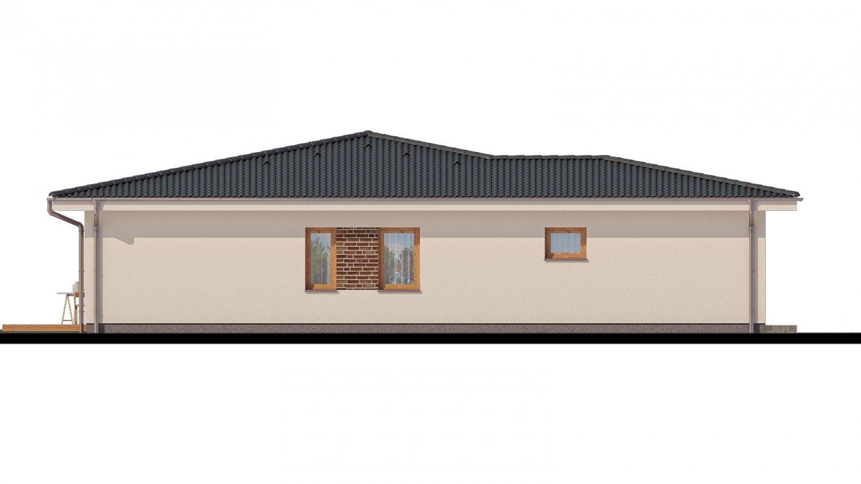 Pohľad 4. - Projekt rodinného domu s garážou a priestrannou obývacou izbou.