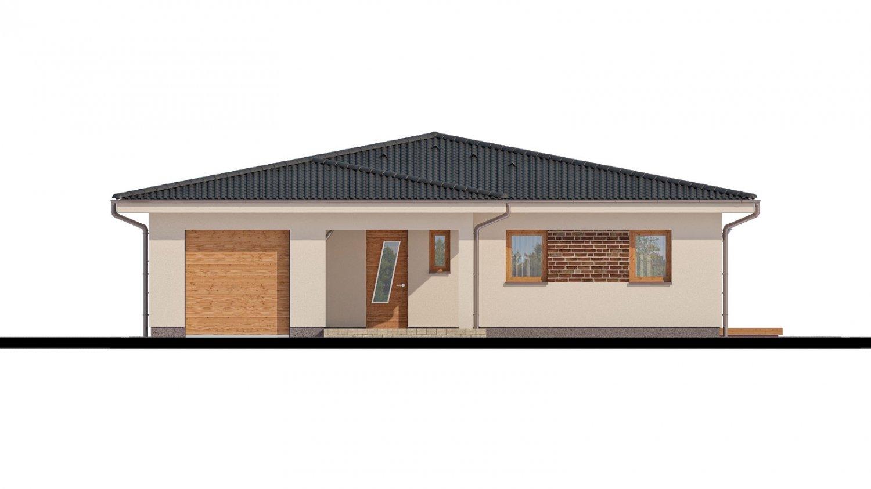 Pohľad 1. - Projekt rodinného domu s garážou a priestrannou obývacou izbou.