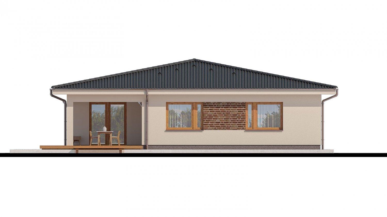 Pohľad 3. - Projekt rodinného domu s garážou a priestrannou obývacou izbou.